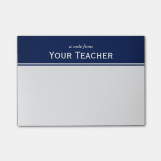 "Classic Navy Blue Personalized 4"" x 3"" Post-it Notes"