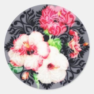 Classic old-fashioned hibiscus classic round sticker