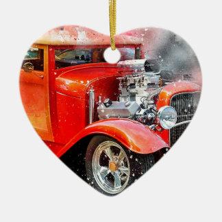 Classic Old Red Car Ceramic Ornament