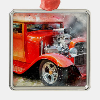 Classic Old Red Car Metal Ornament