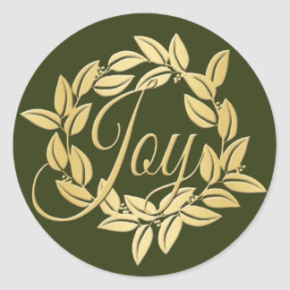 Classic Olive and Gold Bay Leaf Joy Wreath Classic Round Sticker