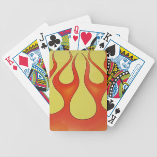 Classic orange flames and yellow background bicycle playing cards