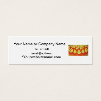 Classic orange flames and yellow background mini business card