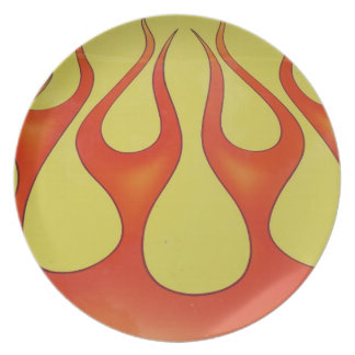 Classic orange flames and yellow background plate