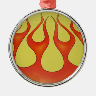 Classic orange flames and yellow background Silver-Colored round decoration