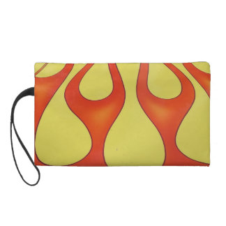 Classic orange flames and yellow background wristlet