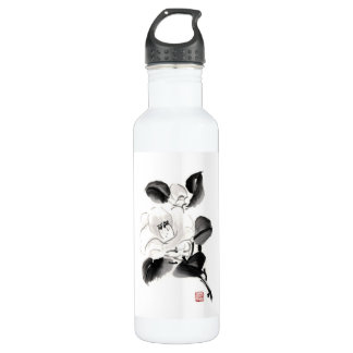 Classic oriental chinese sumi-e ink flowers paint 710 ml water bottle
