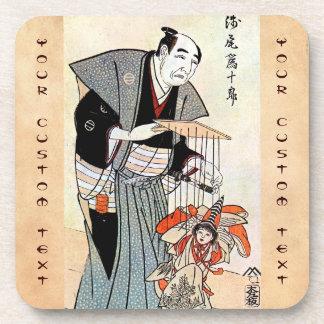 Classic oriental japanese puppeteer ukiyo-e art beverage coaster