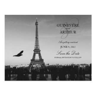 Classic Paris France Wedding Save the Date Postcard