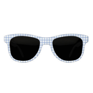 Classic Pastel Blue Gingham Check Pattern Sunglasses