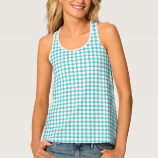 Classic Pastel Green Gingham Check Pattern Singlet