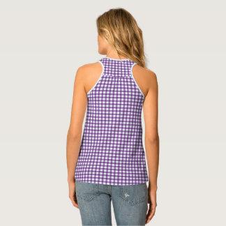 Classic Pastel Purple Gingham Check Pattern Singlet
