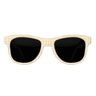Classic Pastel Yellow Gingham Check Pattern Sunglasses