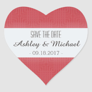 Classic Pattern -Crimson Red- Save the Date Heart Sticker