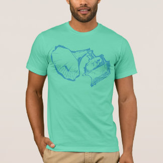 Classic Phonograph T Shirt Hollow Blue