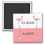 Classic Pink Flamingo Clean Dirty Dishwasher Refrigerator Magnets