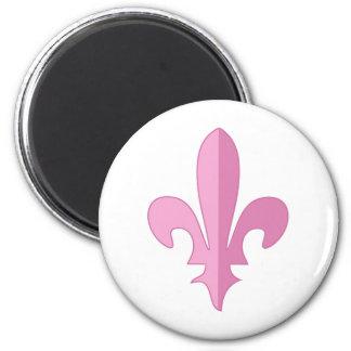 Classic Pink Fleur de lis 6 Cm Round Magnet