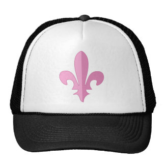 Classic Pink Fleur de lis Mesh Hats
