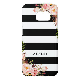 Classic Pink Floral Black White Stripes Monogram