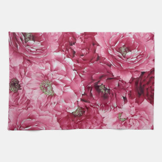 Classic Pink Peonies Clusters Floral Kitchen Towel