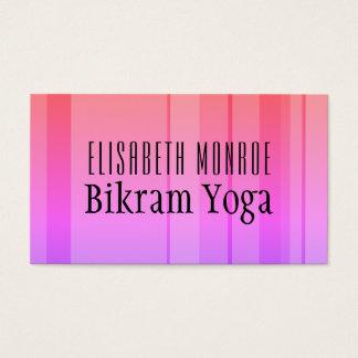 Classic Pink Striped Bikram Yoga Teacher Business Card