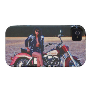 Classic Pinup Girl On A Motorcycle iPhone 4 Covers