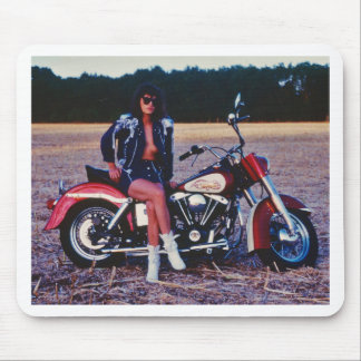 Classic Pinup Girl On A Motorcycle Mouse Pads