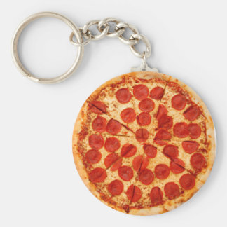 classic pizza lover basic round button key ring