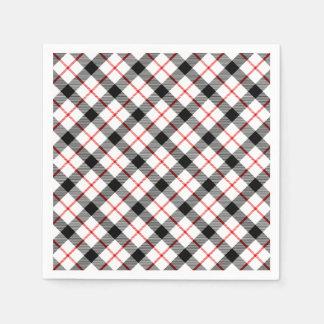 Classic Plaid Red Black White Holiday Paper Napkin