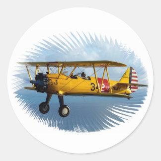 classic plane round stickers