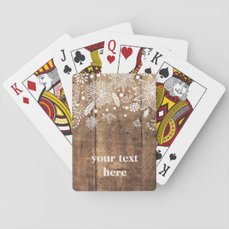 Classic Playing Cards, wood rustic floral Playing Cards