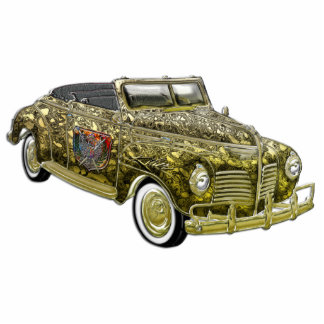 Classic Plymouth Custom Gold Convertible Standing Photo Sculpture