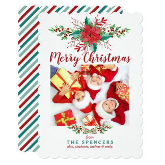 Classic Poinsettia Christmas Photo Holiday Card