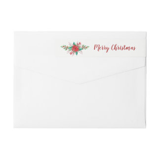 Classic Poinsettia Christmas Photo Holiday Labels