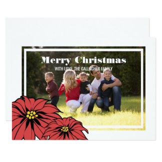 Classic Poinsettia Holiday Photo Flat Card