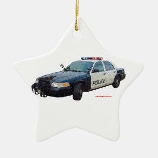 Classic_Police_Car_Black_White Ceramic Ornament
