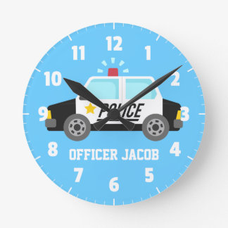 Classic  Police Car with Siren For Boys Room Round Clock