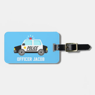 Classic Police Car with Siren For Kids Bag Tag