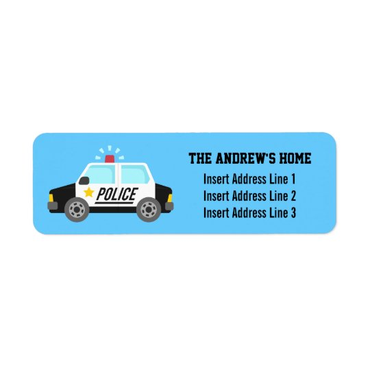 Classic Police Car with Siren For Kids Return Address Label