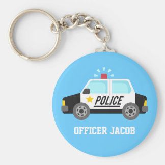 Classic Police Car with Siren Name Key Chains