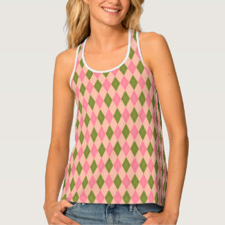Classic Preppy Argyle in Girlie Pink and Green Singlet