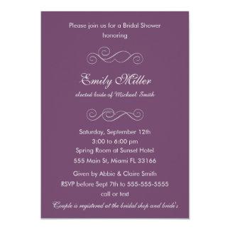 Classic Purple Grey Bridal Shower Invitation