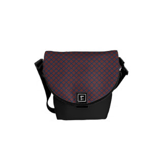 Classic Quatrefoil Brick Red and Blue Courier Bag