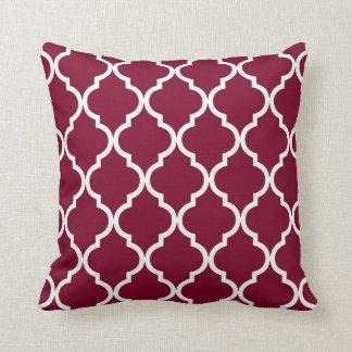 Classic Quatrefoil Pattern in Cranberry Red Cushion