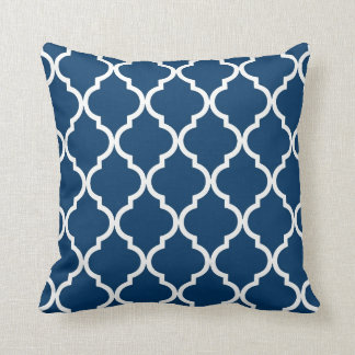 Classic Quatrefoil Pattern Navy Blue and White Cushion