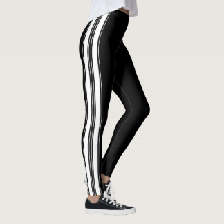 Classic Racing Pin Stripes Decor on Leggings