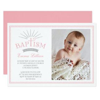 Classic Radiance Photo Baptism Invitation - Pink