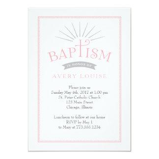 Classic Radiance Pink Baptism Invitation