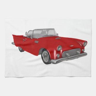 Classic Red 50's Car Tea Towel