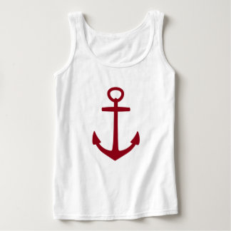 Classic Red Anchor on White Singlet
